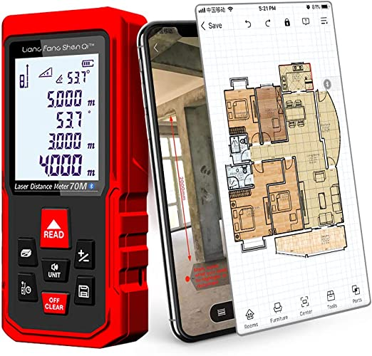 LiangFangShenQi Laser Measure, 230ft/70m, Bluetooth Laser Distance on magicplan for android, floor plan app mac, kindle app for android, walkie talkie app android, floor plan app windows, home app android, construction apps for android,