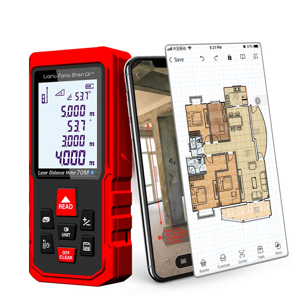 LiangFangShenQi Laser Measure, 229ft/70m, Bluetooth Laser Distance Meter, Backlit Display, Red, KC-B70 Laser Measuring Device with Floor Plan APP for Android & iOS (Professional)
