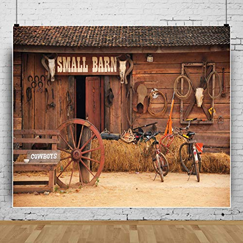 AOFOTO 10x8ft Western Barn Backdrops Wild West Country Cowboy Wooden Farmhouse Front Door Haystack Bike Photo Background Rustic Farm Tools Photography Studio Props Adult Man Portrait Video -