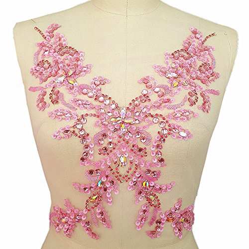 Unique Pure Handmade Beaded Sew on Rhinestones Sequins Beads Applique Crystals Patches 15.3×11.4″ Sewing Crastal For Wedding Evening Dress Accessory (…