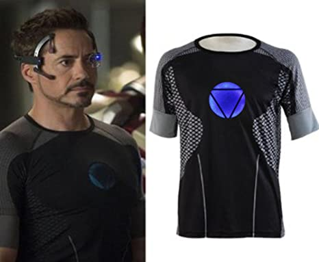 Mavel Iron Man 3 Tony Stark Cotton Jersey T Shirt Cosplay Costume With  Chest Arc