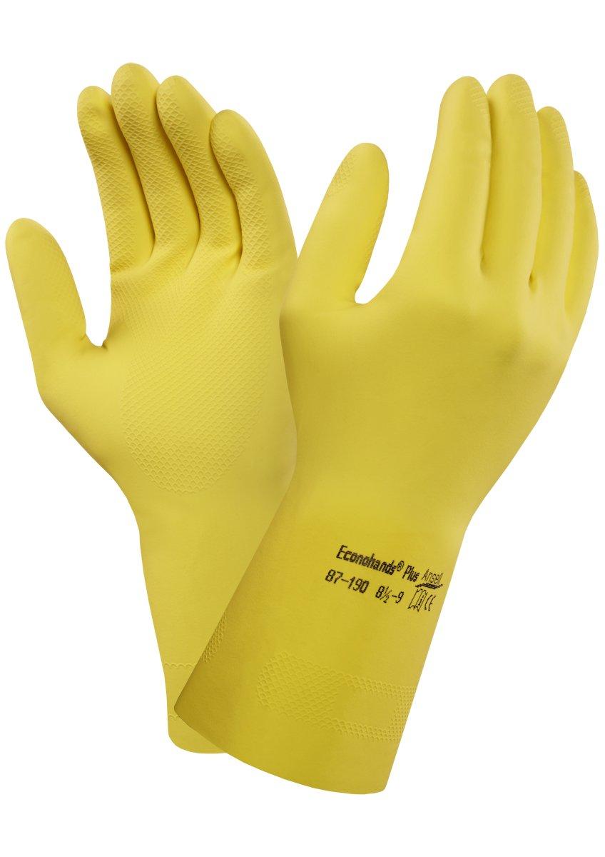 12 Paar pro Beutel Gr/ö/ße 6.5-7 Chemikalien- und Fl/üssigkeitsschutz Ansell Bi-Colour 87-900 Naturgummilatex Handschuhe Gr/ün