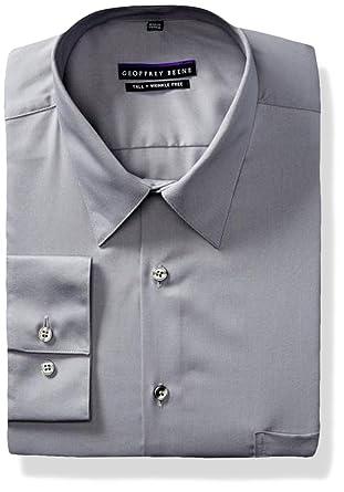 0c91f85d41 Amazon.com  Geoffrey Beene Men s TALL FIT Dress Shirts Sateen Solid ...