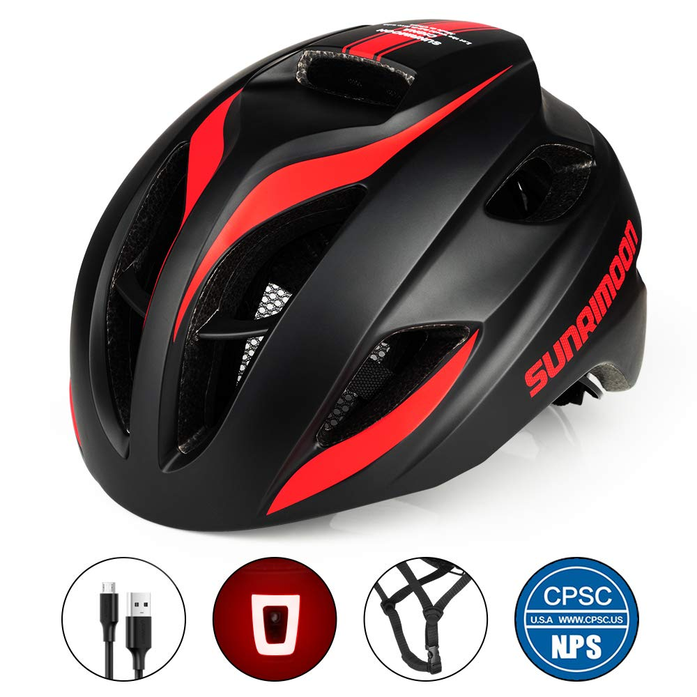 SUNRIMOON Bike Helmet with USB Light for Adult Men Women Road Cycling, in-Molded Reinforcing Skeleton for Enhanced Protection, Adjustable Bicycle Helmet, 20.47-23.62 Inches