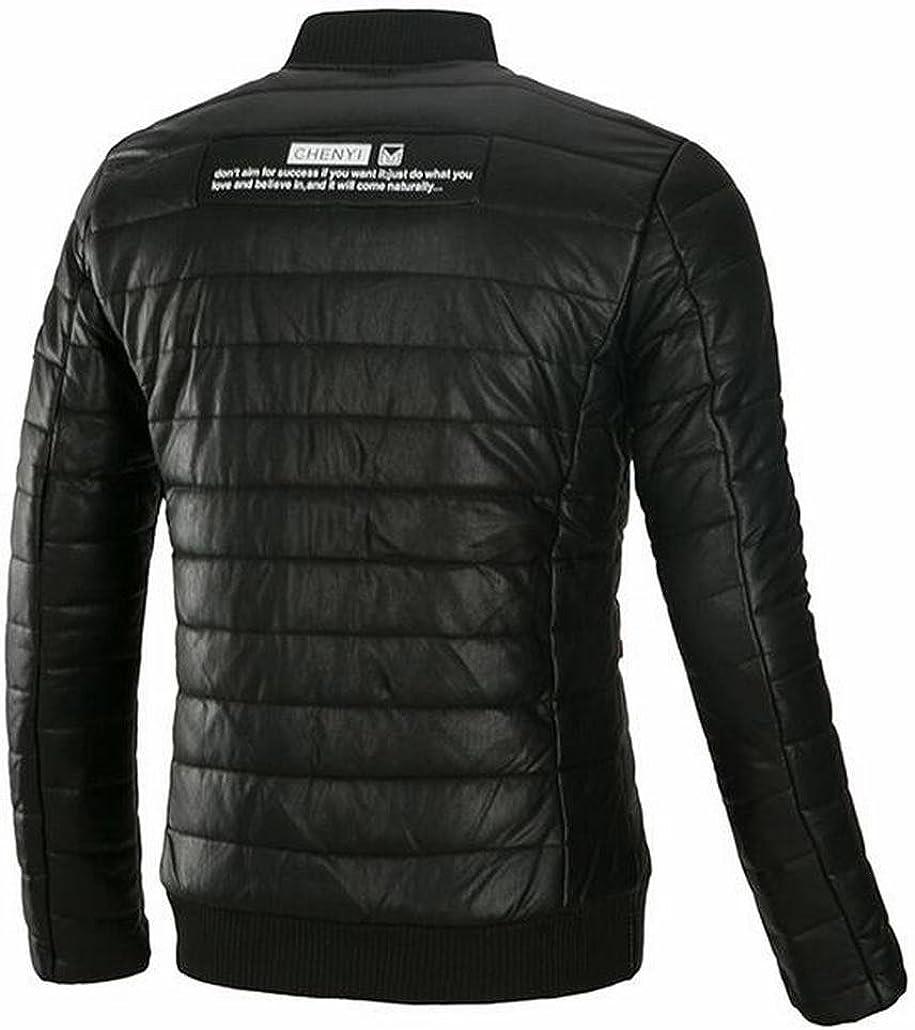 tescous Men New Lightweight Long-Sleeved Zipper Thick Warm Puffer Jacket Varsity Jackets