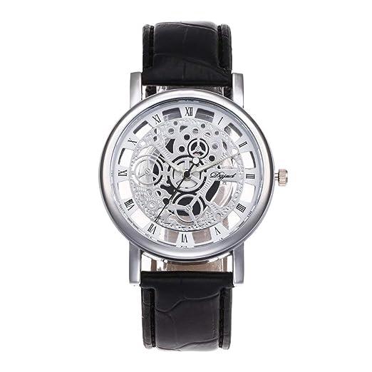 Tiempo Exacto Que Guarda los Relojes de Lujo del Hombre Mujeres Diseño Fresco Ahueca hacia Fuera el Reloj Transparente del Reloj del Cuero de la PU del ...