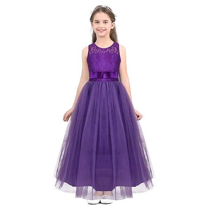 YiZYiF Vestido Fiesta Largo para Niña Vestido Tutú Princesa ...
