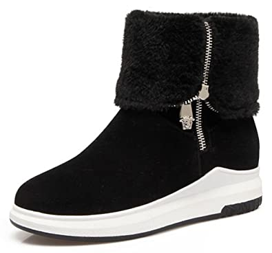 99b55e35083c IDIFU Women s Warm Low Wedge Heel Side Zip Up Faux Suede Snow Ankle High  Boots (