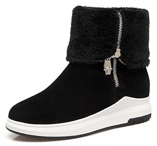 3d53d5ad60b97 IDIFU Women's Warm Low Wedge Heel Side Zip Up Faux Suede Snow Ankle High  Boots