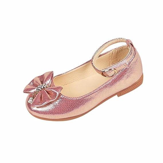 Zapatos Niña,Niños Chica Moda Princesa Soild Bowknot Casual Zapatos solteros Zapatos de baile de