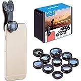 Apexel 10 in 1 Cell Phone Camera Lens Kit. Kit includes Wide Angle Lens & Macro Lens + Fish eye Lens+ Telephoto Lens + CPL/Flow/Radial/Star Filter + Kaleidoscope 3/6 Lens for iPhone, Samsung, Sony