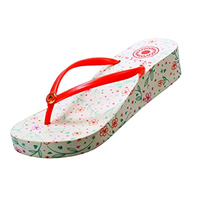 93faaf8742db Aimsunaw Women s Beach Wedding Thong Wedge Flip Flops Sandals Shoes for  Vacation  Amazon.co.uk  Shoes   Bags