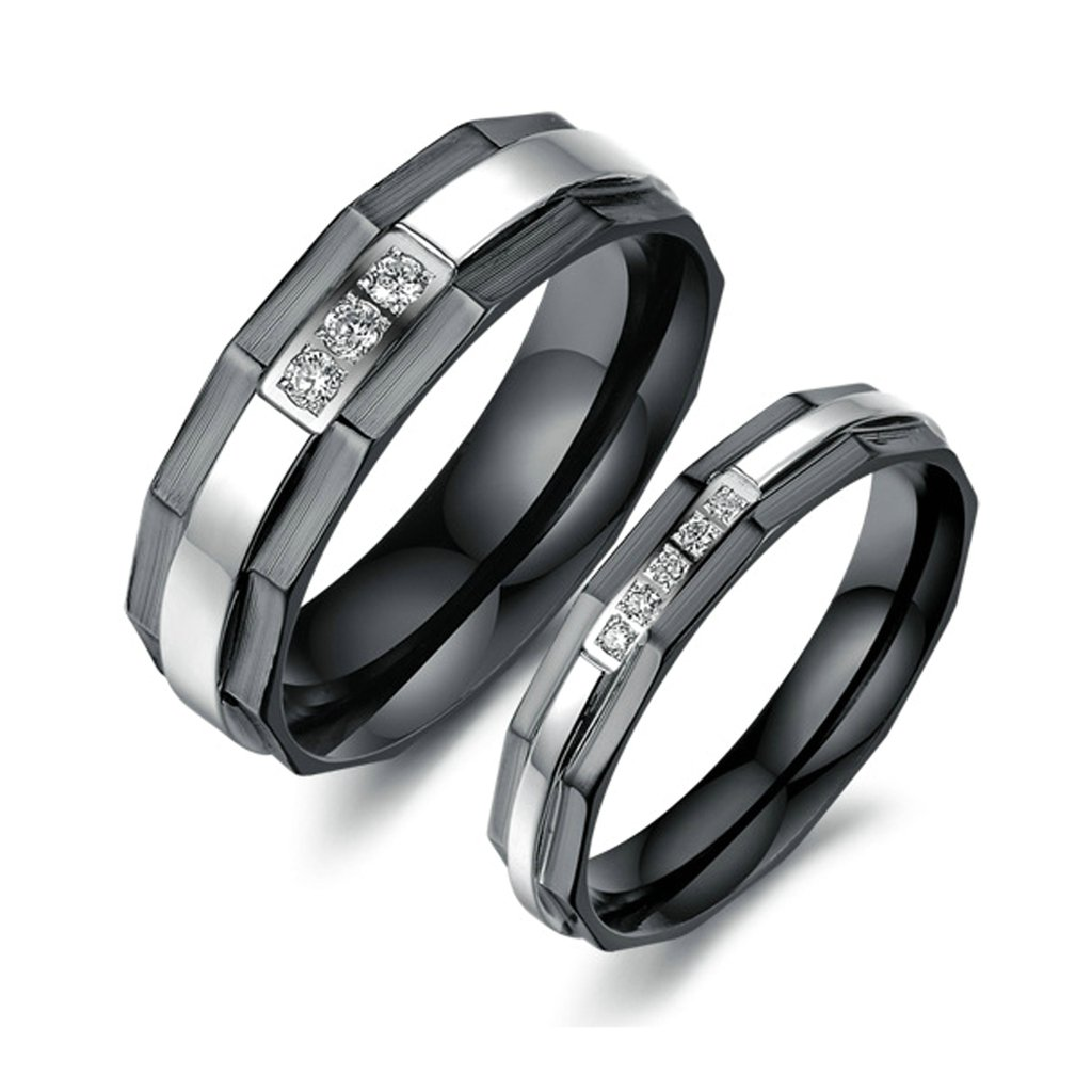 Bishilin Stainless Steel Cubic Zirconia His and Hers Matching Set Wedding Band Engagement Rings Women Size 5 /& Men Size 10