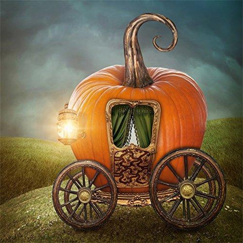 LFEEY 6x6ft Fairy Tale Pumpkin Carriage Backdrop Childhood Fable Story Fantasy Orange Tiny Cart Halloween Photography Background Photo Studio -