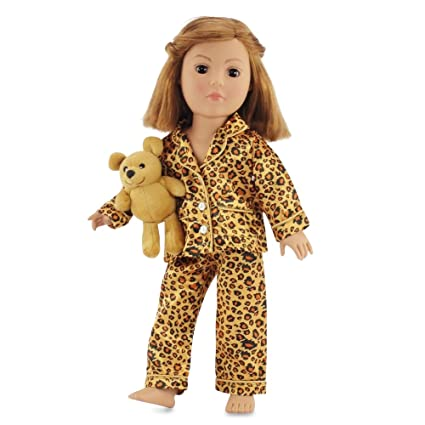 b67a2f8580 Image Unavailable. Image not available for. Color  18 Inch Doll Clothes  Satiny Cheetah Pajamas PJs with ...