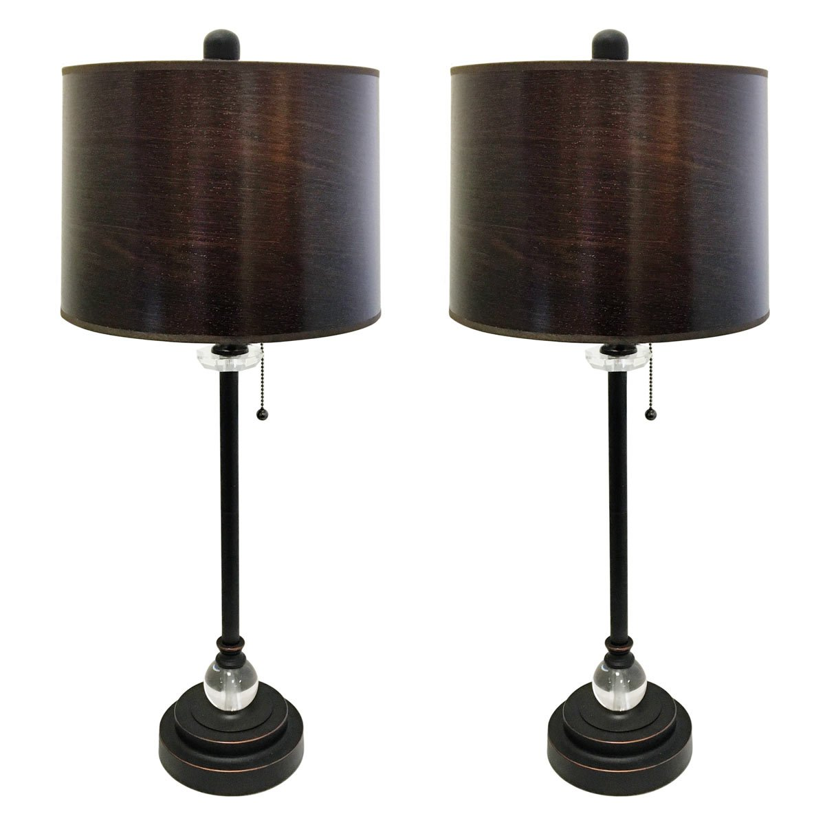 Royal Designs 28'' Crystal and Oil Rub Bronze Lamp with Brown Wood Texture Hardback Lamp Shade, Set of 2 by Royal Designs, Inc