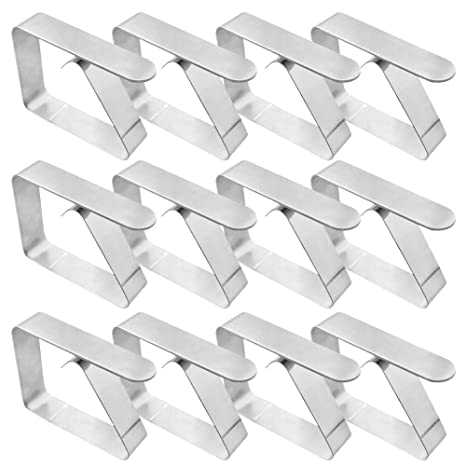 Enthur Tablecloth Clips 18 Packs Picnic Table Clips Flexible Stainless Steel Table Cloth Cover Clamps Table Cloth Holders Ideal for Picnics Marquees and Weddings Silver