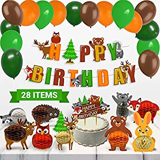 Mint+Elm Woodland Party Decorations - 28 Pcs Woodland Birthday Decorations with Animal Honeycombs, Balloons, Woodland Birthday Banner, Cake Topper - Photo Perfect Woodland Creatures Party Supplies