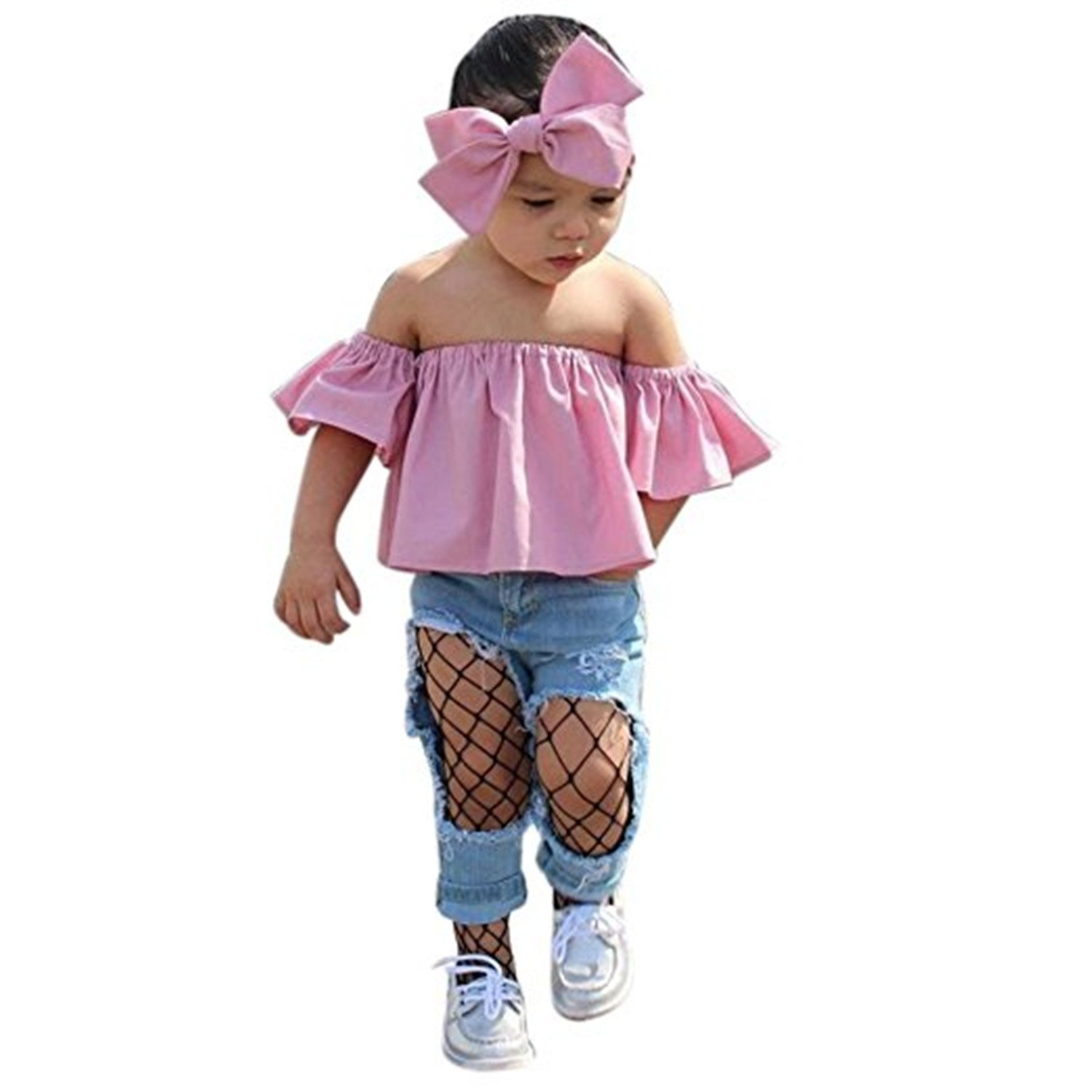 Faith Wings Top per bambina con spalle scoperte + Jeans strappati Jeans + Set copricapi