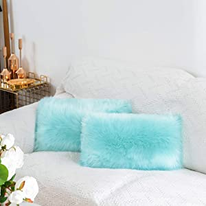 Jiwido Home Deco Pack of 2 Pieces Shaggy Plush Faux Fur Decorative Throw Pillow Cover Velvety Soft Cushion Case 12x20 Inch (Cyan)