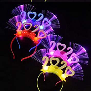 12 Happy New Year Headband Fiber Optic Party Favors