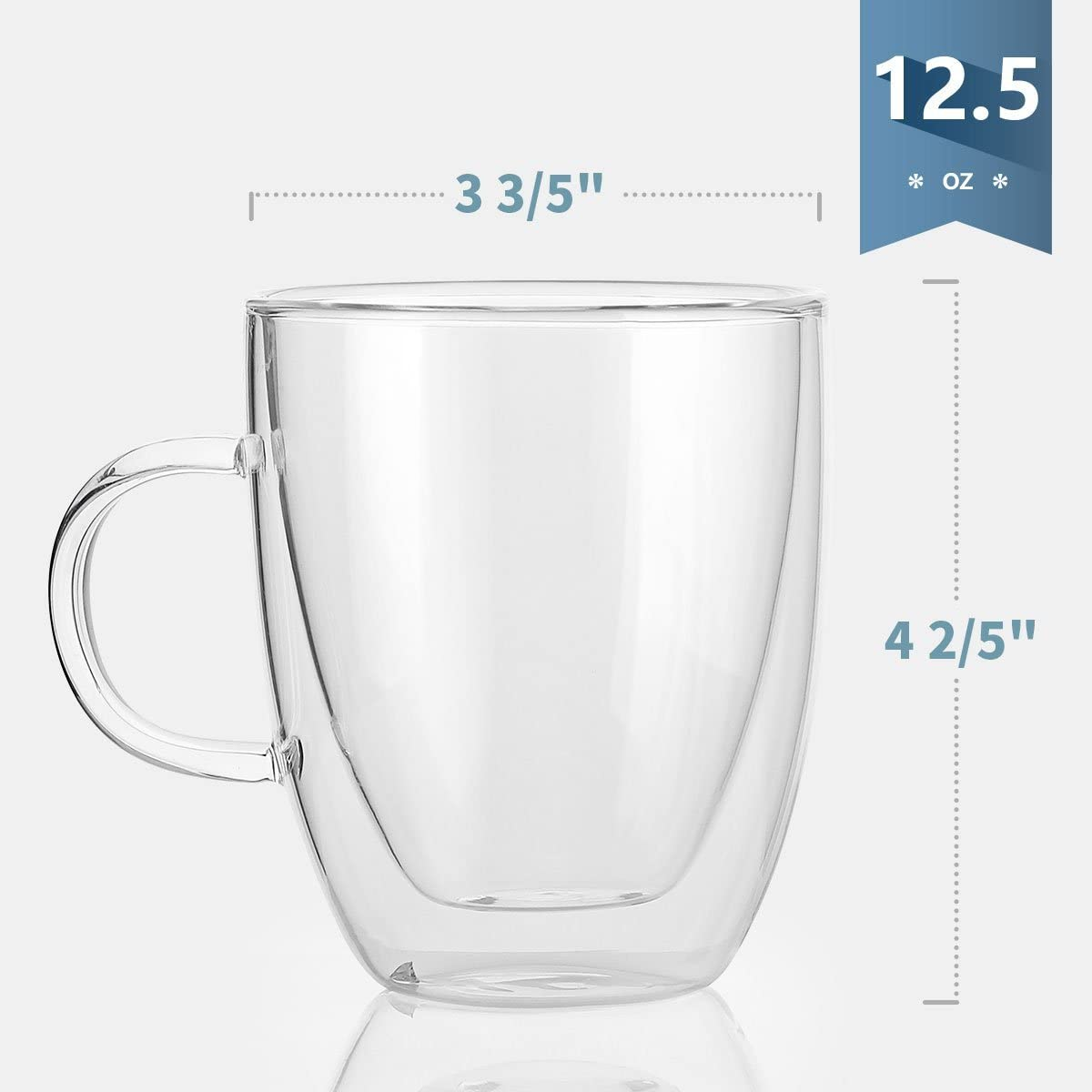 Sweese 413 101 Glass Coffee Mugs 12 5 Oz Double Walled Insulated Mug Set With Handle Perfect For Latte Americano Cappuccinos Tea Bag Beverage Set Of 2 Coffee Cups Mugs