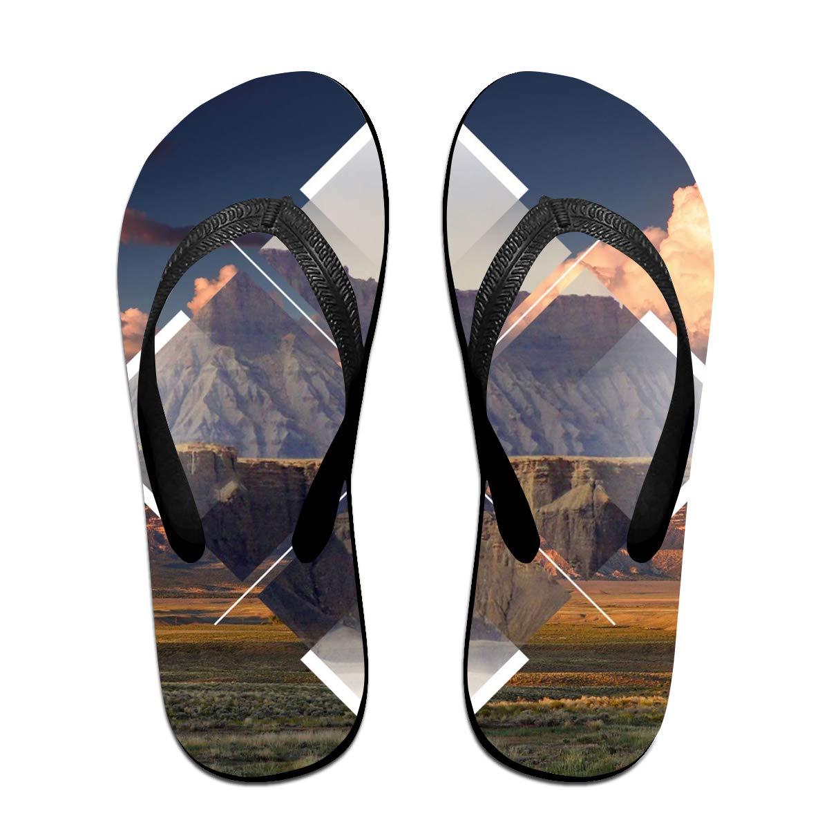 Couple Slipper Polyscape Diamond Nature Print Flip Flops Unisex Chic Sandals Rubber Non-Slip House Thong Slippers