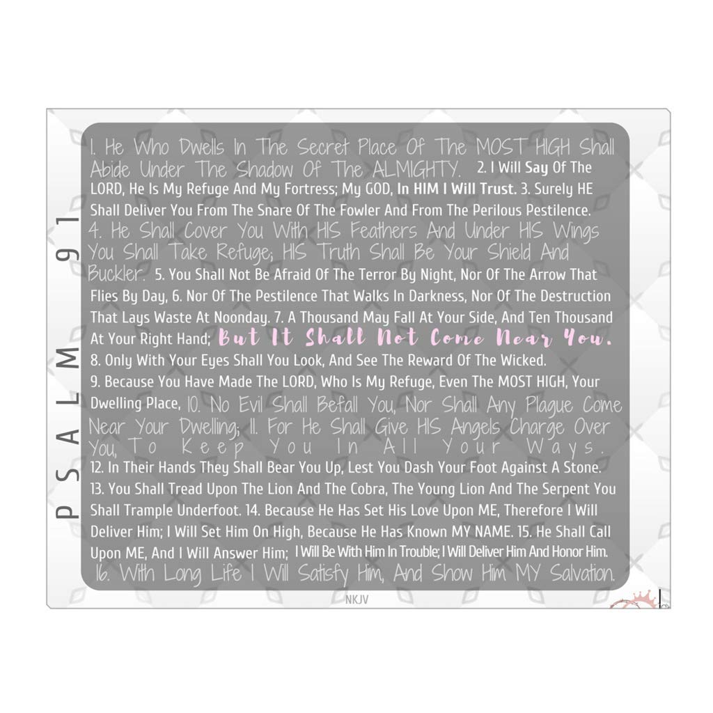 Cute Scriptures Wall Art Psalm 91 - White - Premium Quality Gallery Wrapped  Canvas 20 X 16