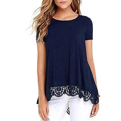 4697d9a2e37 Reaso Femme T-Shirt Eté Manches Courtes Crop Top Chic Été Tank Top Casual  Shirt