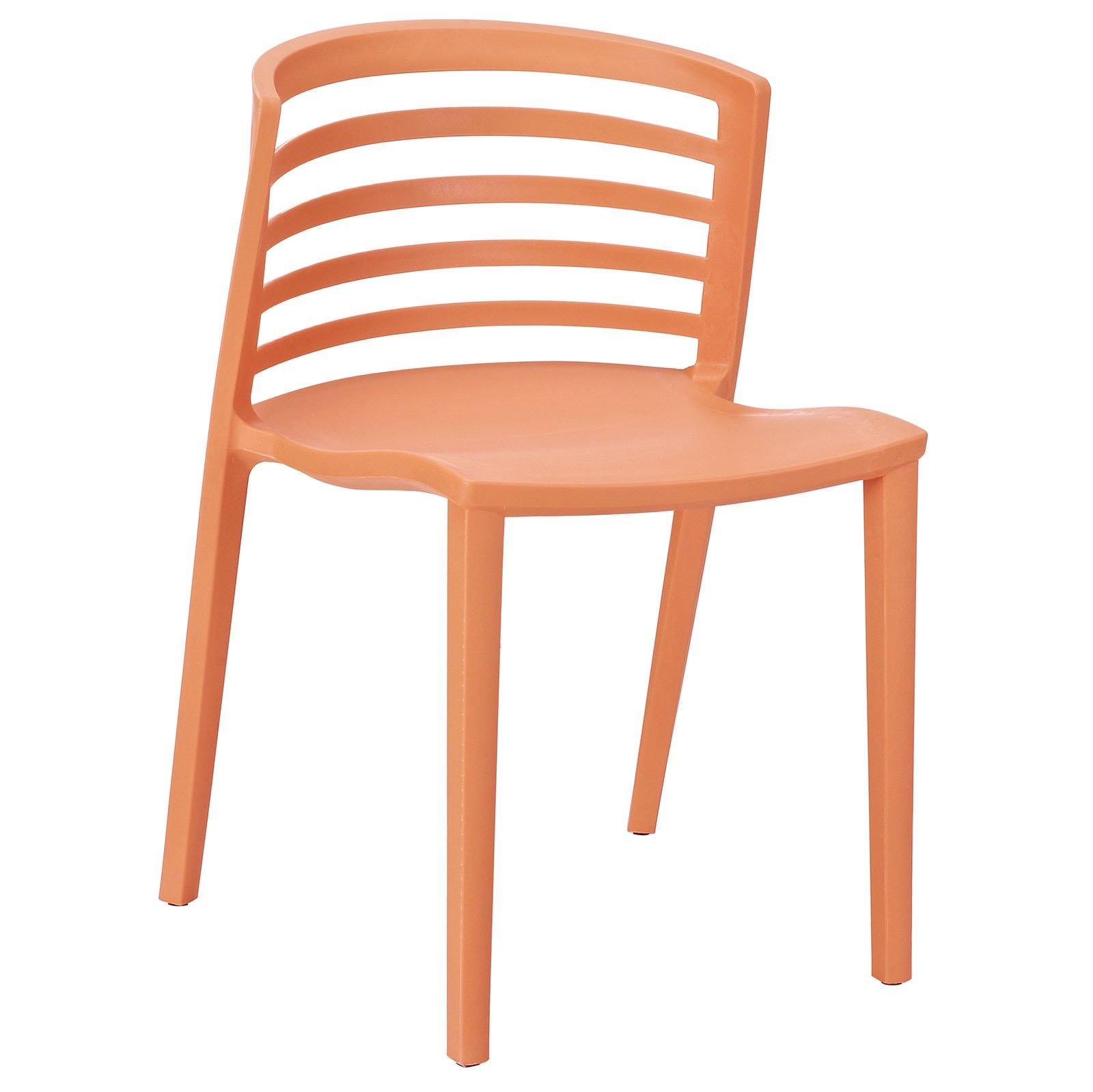 Modway Curvy Plastic Chair, Orange