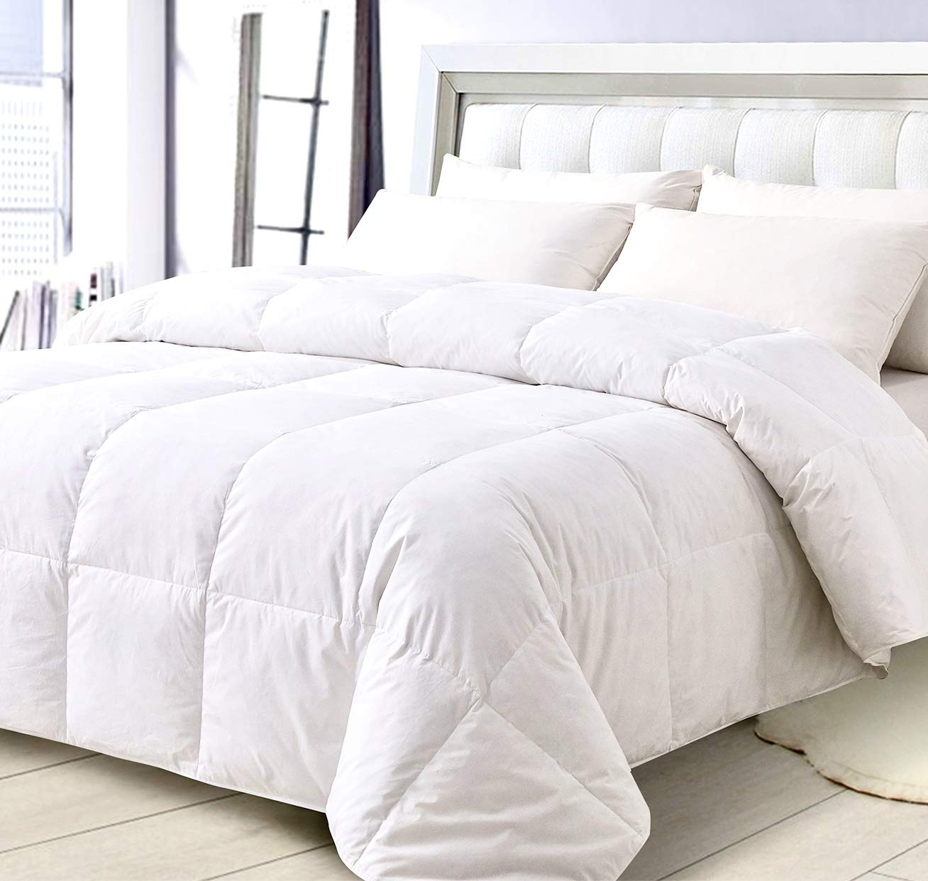 ELNIDO QUEEN White Goose Duck Down and Feather Comforter with 100% Cotton Cover-Lightweight Warmth All Season-Bedding Duvet Insert Stand Alone-Queen