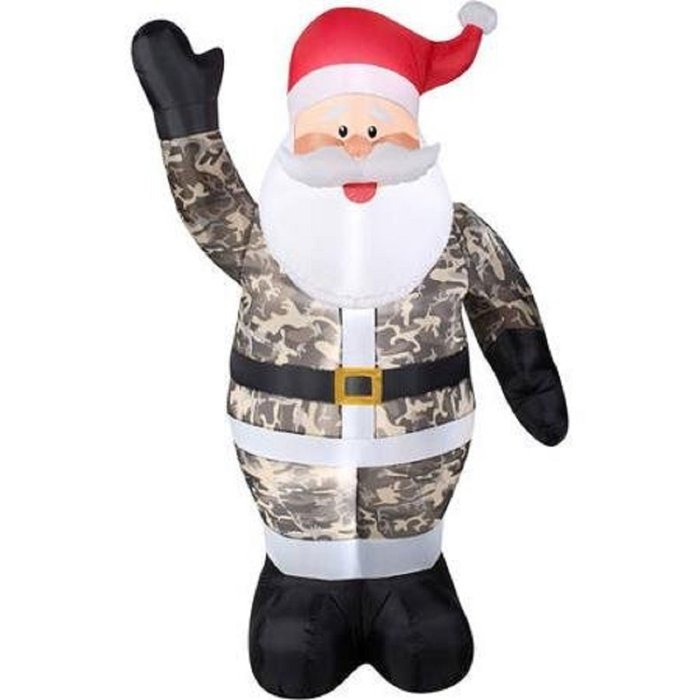 Amazon.com: Airblown Inflatable Outdoor Camouflage Santa/globo ...