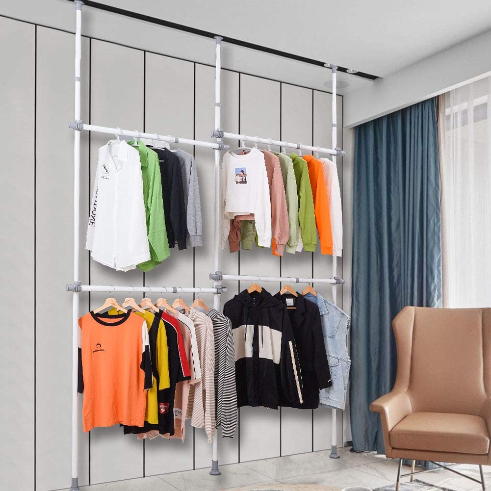 Closet Organizer 440 lb Load with 55 x 97 Expands to 102 x 119 LUBAN King Adjustable Garment Racks with 4-Tiers Heavy Duty Hang Clothes Rack for Storage and Display