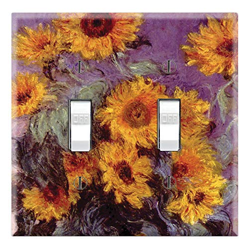 Sunflower Toggle - Graphics Wallplates - Bouquet of Sunflowers by Monet - Double Toggle Wall Plate Cover