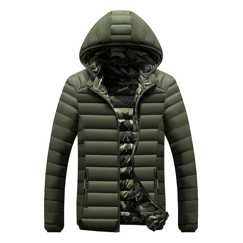 Alalaso Bown Jacket for Men, Mens Down Jackets Puffer Coat Hooded Thicken Outwear Overcoat Green by Alalaso