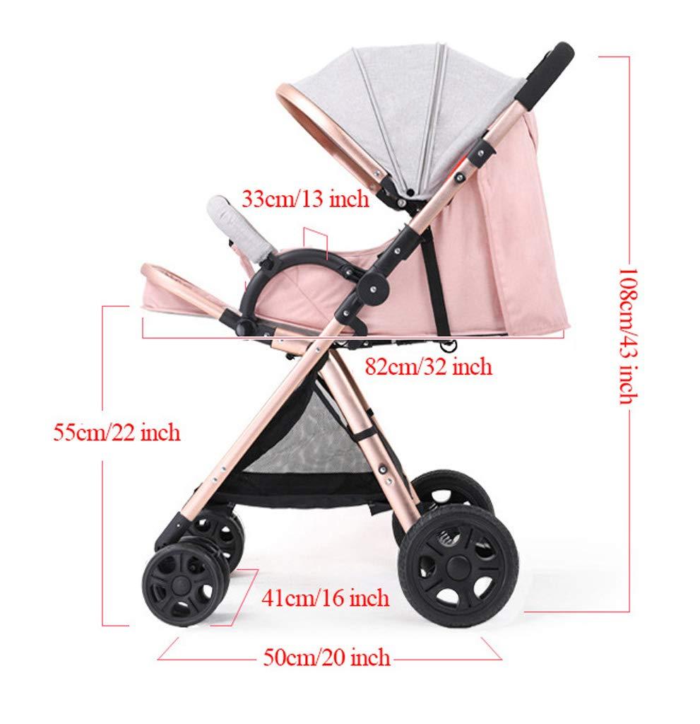 50 x 41 x 108 cm Baby carriage High View Zwei-Wege-Sportkinderwagen Leichtklapp Four Wheel Jogger Reisen Buggy-System Infant Kinderwagen