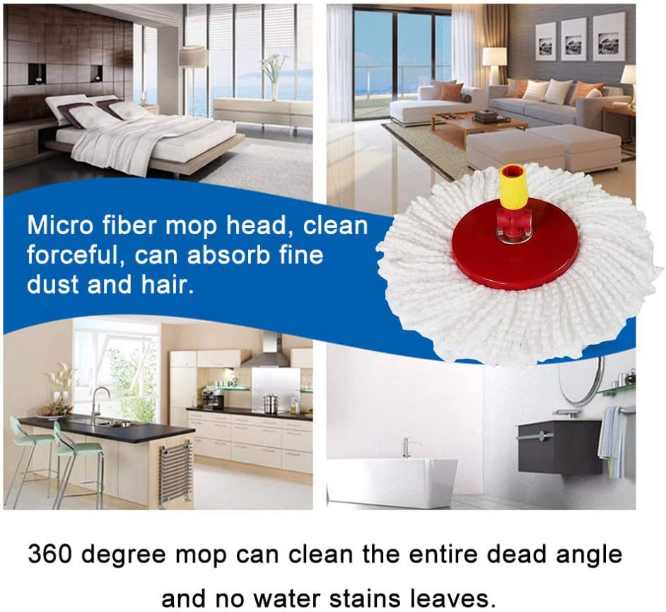 Round Shape Standard Universal Size Replacement Mop Head for Spin Mop Systems 6 Pack Microfiber Mop Replacement Head Refill for 360/° Spin Magic Mop