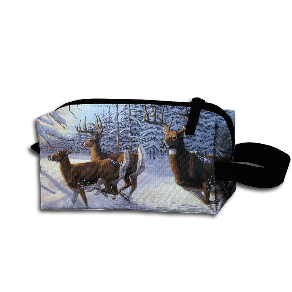 Makeup Cosmetic Bag Animals Forest Deer Winter Zip Travel Portable Storage Pouch For Mens Womens
