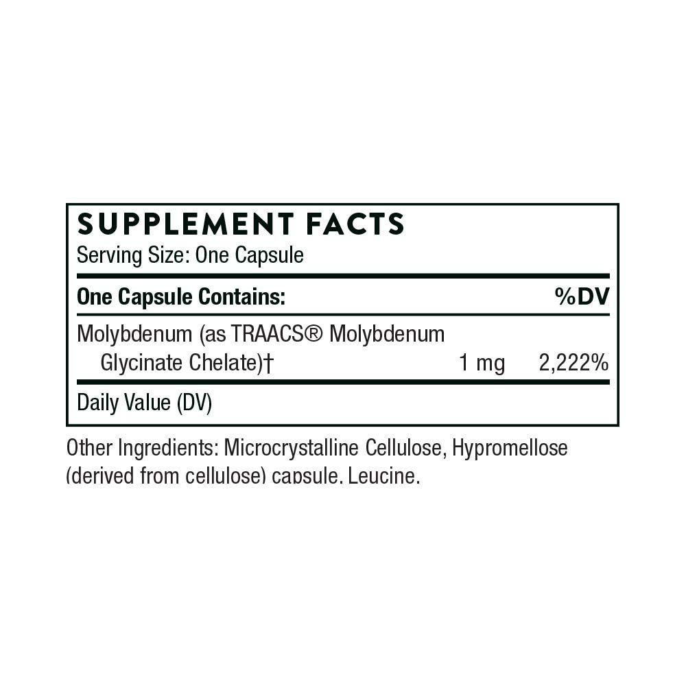 Thorne Research - Molybdenum Glycinate - Trace Mineral Supplement for Liver  Support and