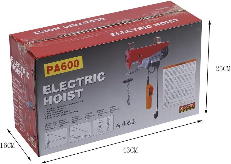 MathRose 300//600Kg Montacarichi Elettrico 1150W-Paranco//Argano//Montacarico,Sollevamento Paranco Elettrico Sovraccarico Ascensore Argano Elettrico,con Controller