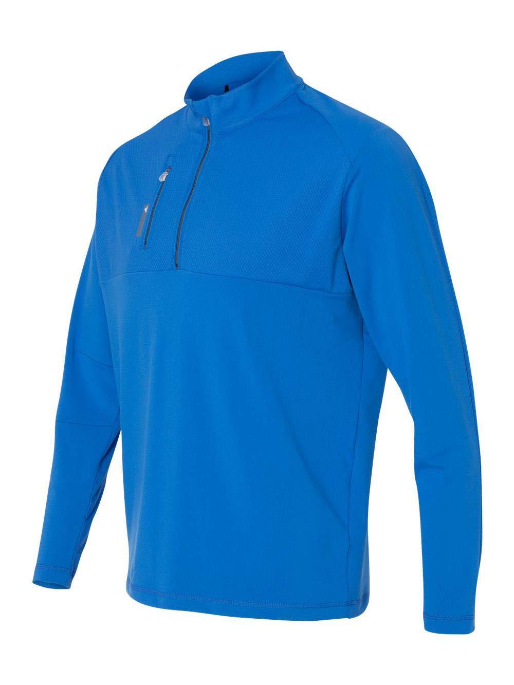 adidas Golf Mens Puremotion Mixed Media Quarter-Zip (A195), Brt Royal/Lead, Small