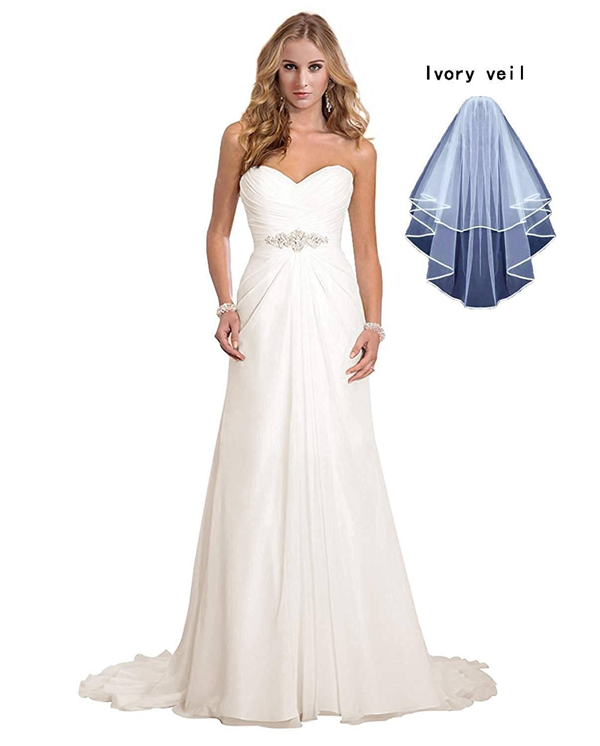 f600a3d629b Dreambridal Women s Chiffon A-Line Wedding Dresses Simple Sweetheart Beach Bridal  Gowns with Veil at Amazon Women s Clothing store