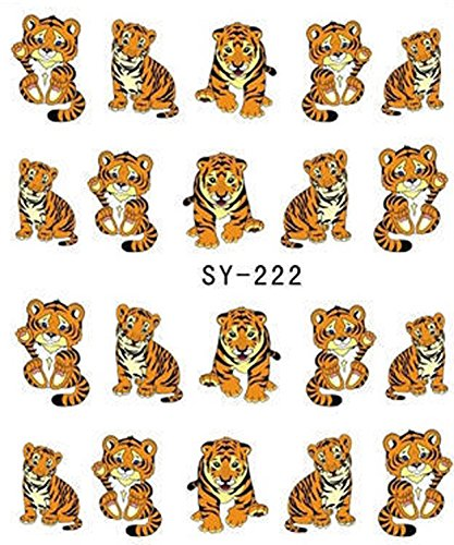 Tiger Animal Print Nail Art Stickers Water Transfer Decals Decorations SY222