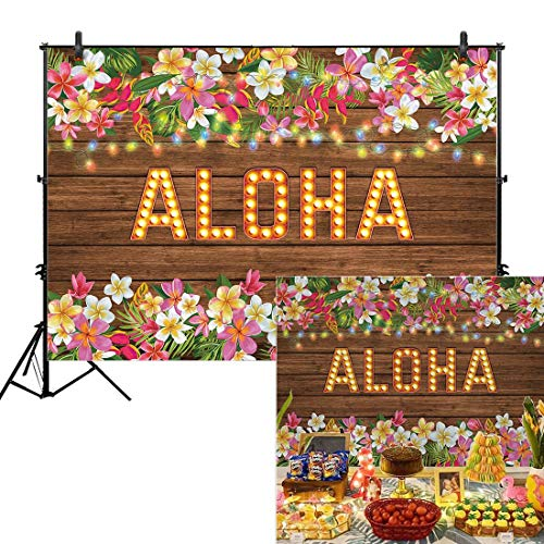 - Allenjoy 7x5ft Aloha Party Backdrop for Summer Tropical Hawaiian Beach Luau Photography Background Birthday Banner Flowers Wooden Sculpture Sea Floral Prom Baby Shower Decorations Photo Booth Shoot