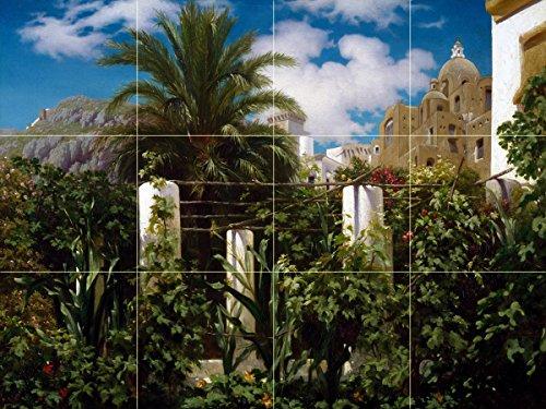 Tile Mural Garden of an Inn Capri landscape palm tree by Frederic Leighton Kitchen Bathroom Shower Wall Backsplash Splashback 4x3 6