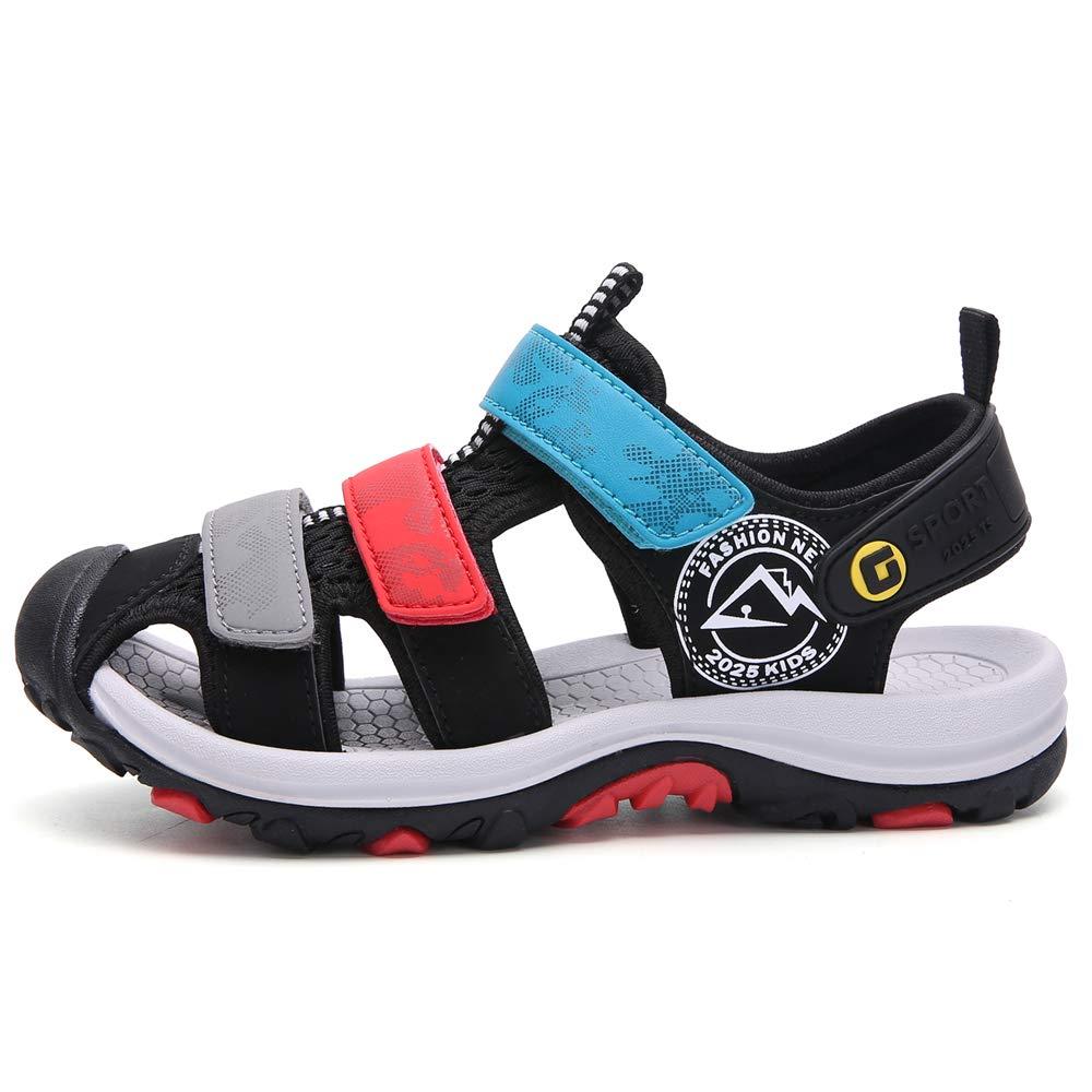 Jungen Sandalen Geschlossene Wandern Sandale Wasserschuhe Somme Sport Sandalette Strandschuhe Atmungsaktiv Schwarz Grau Rot