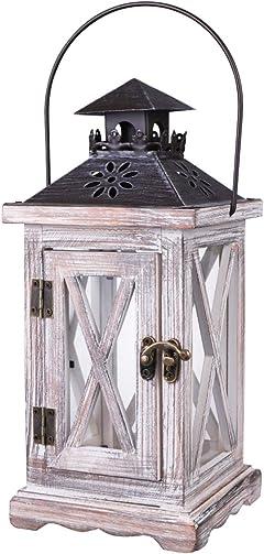 BESTONZON Vintage Decorative Lantern Candle Holder Wooden Rustic European Style