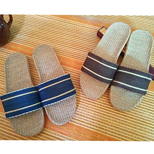 Men Slippers Indoor Skidproof Indoor Wind Linen Outdoor Shoes Brown Goal Slippers Summer for Women Beach House Sandals w0t1tPSqx