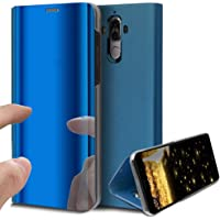 HMTECH Huawei Mate 20 Lite Coque Luxe Clear View Etui Cuir Galvanoplastie Miroir Mirror Makeup Coque étui Cuir Housse Coque Couverture avec Fonction Stand pour Huawei Mate 20 Lite,Blue Mirror PU