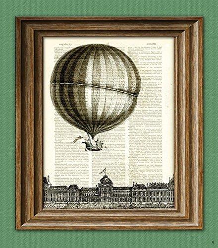 Hot Air Balloon Print illustration beautifully upcycled dictionary page book art print ()